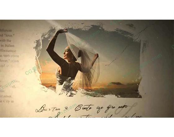 欧美风格的婚礼相册展示AE模板