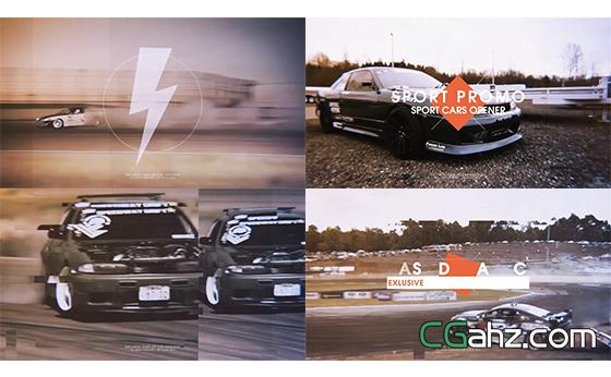 赛车拍摄记录拼接动态幻灯片AE模板