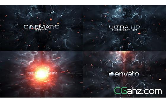 火花爆破粒子动态电影文字标题宣传AE模板