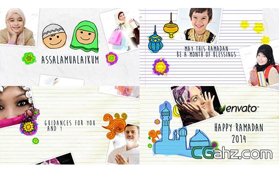 伊斯兰教斋月节动漫可爱动态模板展示AE模板