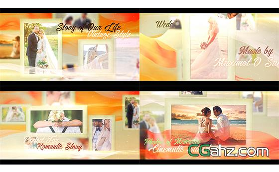 婚礼电子相册豪华金色主题开场幻灯片AE模板