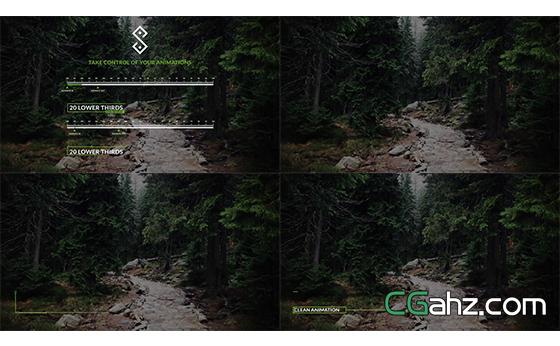 干净清洁板块电影片尾文字转换展示AE模板