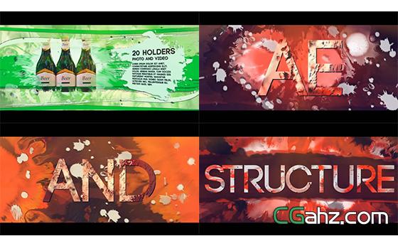 震撼墨水风格渲染字幕标题图片展示AE模板