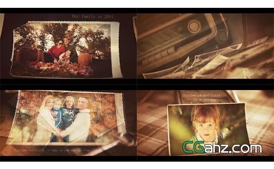 排列摆放切换回忆纪念相册幻灯片头AE模板