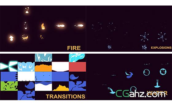 雷电闪光烟雾效果切换过渡场景动画AE模板