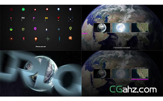 地图定位导航俯冲视觉放大展示地标AE模板