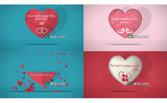 爱心飘浮汇聚成心形情人节浪漫场景片头AE模板
