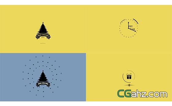 圣诞节图案变化渲染新年节日AE模板