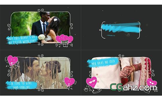 动画效果演绎情人节场景幻灯片揭示AE模板