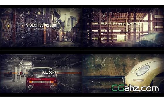 电影视觉城市历程演示开场幻灯片头AE模板