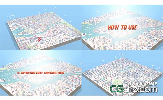 多边形地图构建地标注释地图幻灯片AE模板
