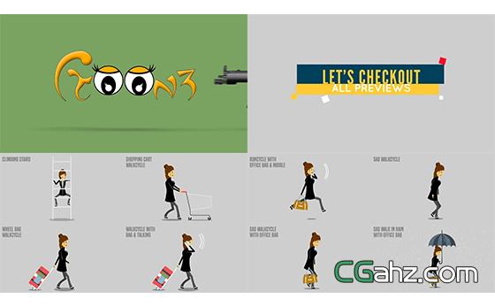 卡通动画全息职场生活演绎商务片头AE模板