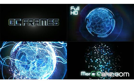 科技拼接闪烁三维粒子旋转AE模板