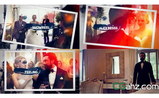 相框插入漫画视觉渲染婚礼相册开场片头AE模板