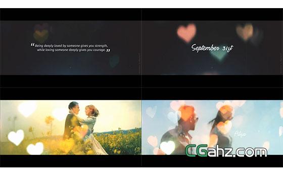 电影氛围爱情故事预告片头AE模板