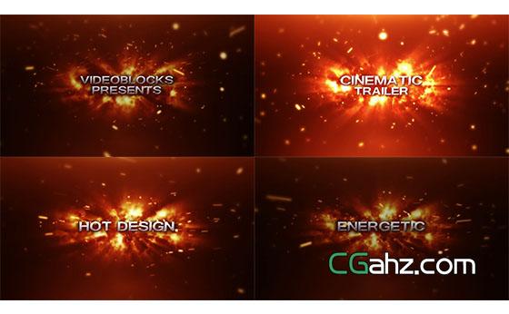 火焰粒子飘浮汇聚渲染标题字幕特效AE模板