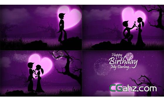 情人节氛围卡通动画生日快乐祝贺AE模板