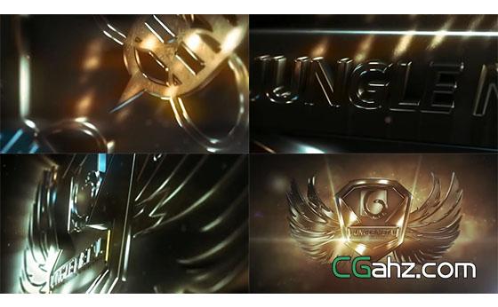 金属质感翅膀光效渲染企业LOGO标志AE模板