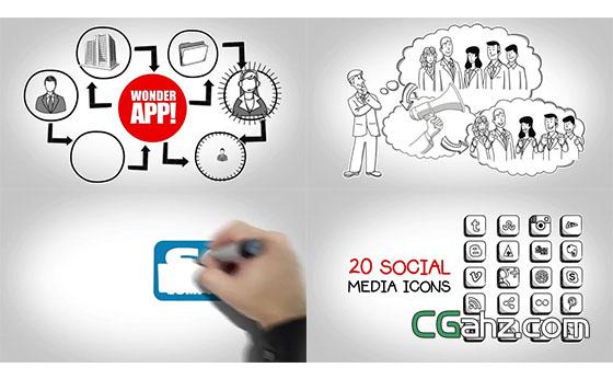 手绘卡通风格企业宣传介绍图文展示AE模板