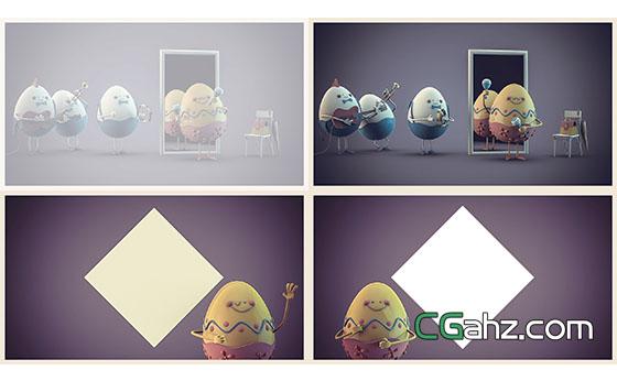 卡通鸡蛋乐队奏乐复活节LOGO展示AE模板