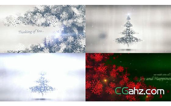 雪花飘浮粒子企业LOGO汇聚圣诞树AE模板