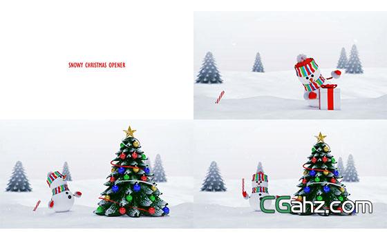 小雪人庆祝圣诞节雪景切换开场动画AE模板