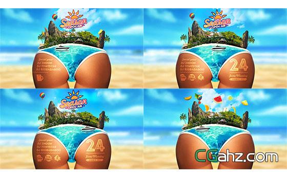 明亮夏季沙滩派对动画片头宣传AE模板