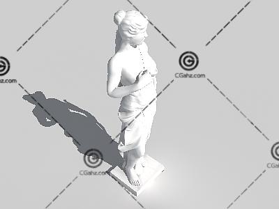 欧美古典女子3D雕像模型