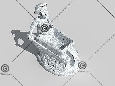人推车雕塑3D模型