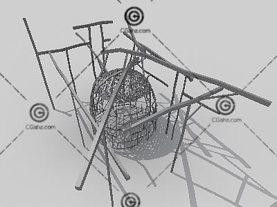 笼子造型雕塑3D模型下载