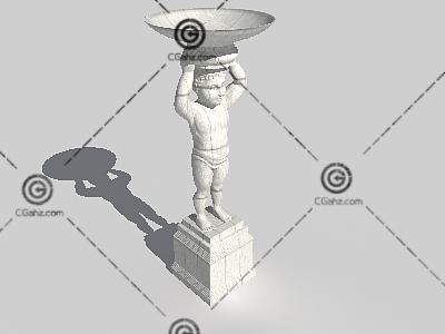 欧式小孩造型雕塑3D模型下载