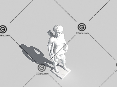 拿着弓箭的古罗马男子3D模型雕像