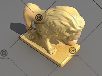 玩球的狮子3D模型