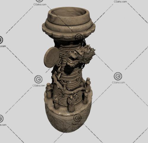 盘着龙的陶罐3D模型
