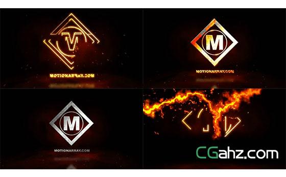 火焰汇聚旋转形成金属质感企业LOGO标志AE模板