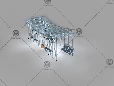 弧形顶玻璃廊架3D模型
