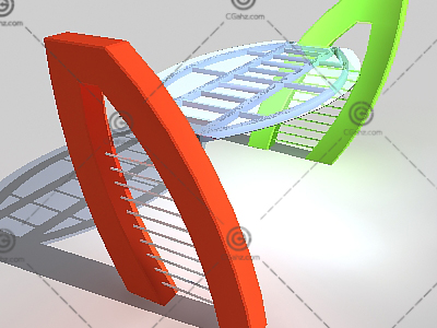 椭圆形顶玻璃廊架3D模型