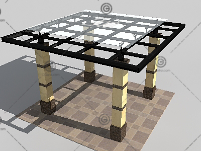 方形景观廊架3D模型