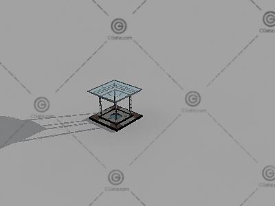 倒梯形景观廊架3D模型