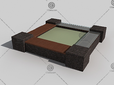 带座位的树池3D模型