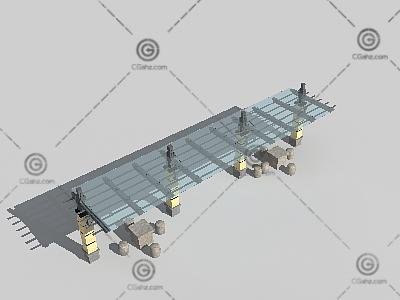 带石凳子的景观廊架3D模型