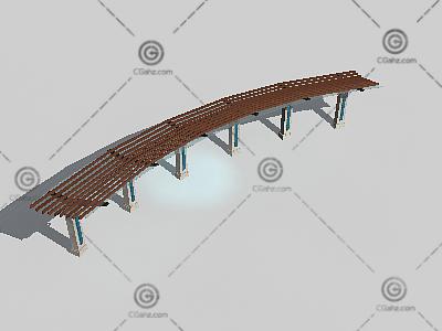 弧形木头廊架3D模型