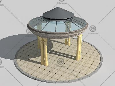 欧式玻璃亭子3D模型