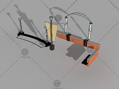 一组带灯柱景观小品3D模型