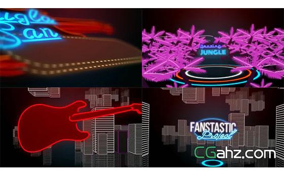 时尚电子荧光闪烁霓虹灯图标栏目包装AE模板