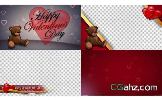 玩具娃娃爱心情人节营销爱情婚礼元素包AE模板