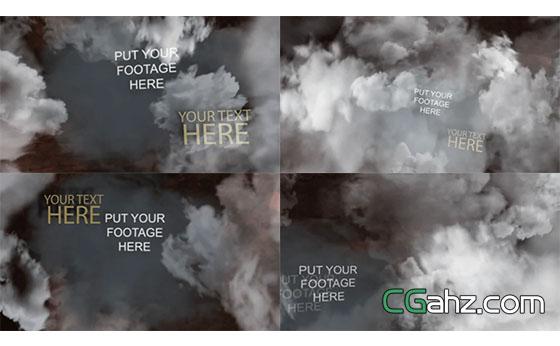 云层中的字幕展示AE模板