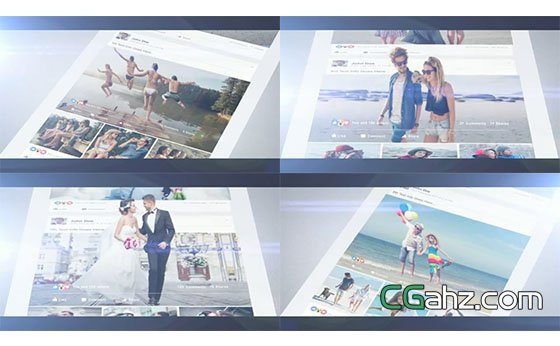 3D立体照片展示特效AE模板