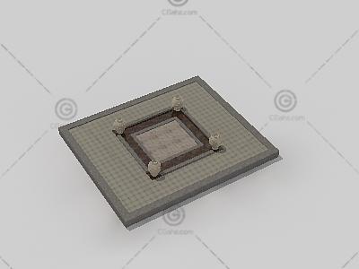 放着陶罐的矩形铺地3D模型