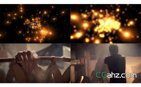 金色粒子主题的电影预告片AE模板